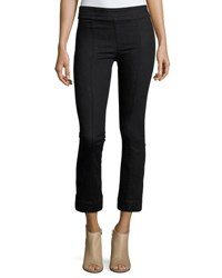 Helmut Lang Pull On Crop Flare Denim Pants Black