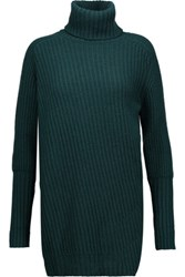 Belstaff Eliora Ribbed Wool And Cashmere Blend Turtleneck Sweater Emerald