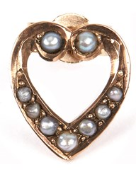 Annina Vogel 9 Carat Gold And Pearl Heart Earring
