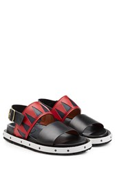 Marni Leather Sandals With Metallic Straps Black