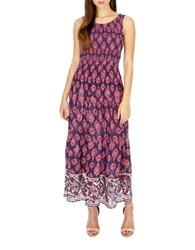 Lucky Brand Printed Georgette Smocked Dress Navy