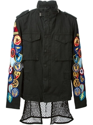 Off White Multi Patch Military Jacket Black