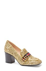 Gucci Women's Glitter Peyton Loafer Pump Gold Glitter