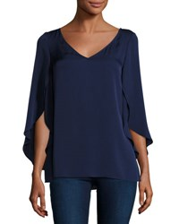 Milly Butterfly Sleeve Stretch Silk Blouse Navy