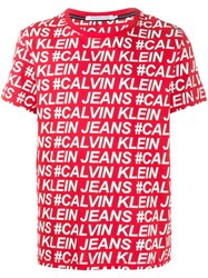 Calvin Klein Jeans All Over Logo Print T Shirt 60