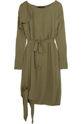 Vivienne Westwood Anglomania Balloon Frayed Crepe Dress Army Green