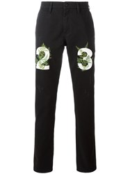 Off White Numbers Print Slim Fit Jeans Black