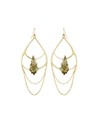 Alexis Bittar Open Teardrop Earrings Golden Green