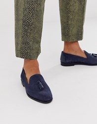 House Of Hounds Pointer Loafers In Navy Embossed Suede