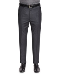 Brioni Flat Front Flannel Trousers Charcoal Grey