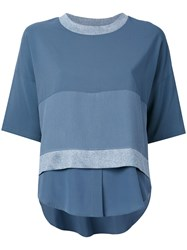Lorena Antoniazzi Layered Shortsleeved Blouse Women Polyester Spandex Elastane Viscose 44 Blue