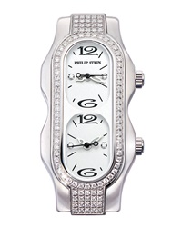 Philip Stein Teslar Philip Stein Mini Signature Double Diamond Watch Head White Dial