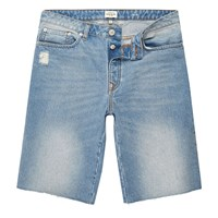 River Island Mens Light Blue Wash Frayed Denim Shorts