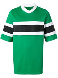 Ami Alexandre Mattiussi T Shirt With Bicolour Band Polyester Green