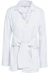 Charli Sabine Striped Tie Front Cotton Poplin Shirt Gray