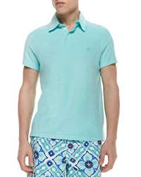 Vilebrequin Short Sleeve Terry Cloth Polo Shirt Aqua Blue