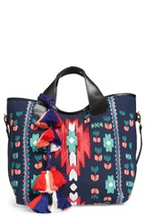 Steve Madden Steven By Beaded Tassel Tote Blue Blue Multi