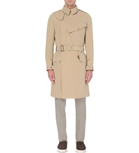 Kolor Double Breasted Wool And Cotton Blend Trench Coat Light Beige