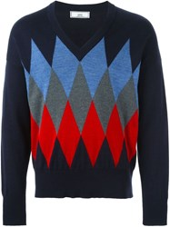 Ami Alexandre Mattiussi Argyle Check Sweater Blue