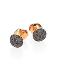 Pomellato Sabbia Black Diamond And 18K Rose Gold Stud Earrings