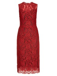 Dolce And Gabbana Sleeveless Cordonetto Lace Dress Red