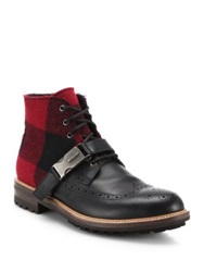 Dsquared Modena Wool And Leather Boots Black Red