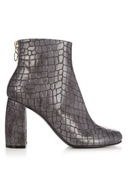 Stella Mccartney Block Heel Faux Leather Ankle Boots Grey