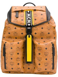 Mcm All Over Logo Backpack Brown