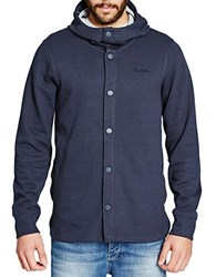 Bench Combustion Button Front Hoodie Blue