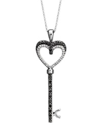 Macy's Sterling Silver Necklace Black Diamond 1 6 Ct. T.W. And White Diamond Accent Heart Key Pendant