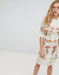 Hope And Ivy Premium All Over Floral Embroidered Mini Dress Nude Base Print Beige