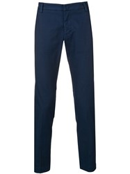 Entre Amis Creased Slim Fit Trousers Blue