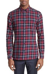 The Kooples Men's Contrast Piping Plaid Sport Shirt Red