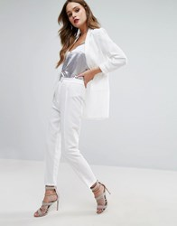 New Look Satin Trim Tux Trousers White