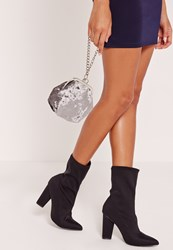 Missguided Chain Handle Velvet Clutch Bag Grey