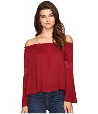 Brigitte Bailey Sula Off The Shoulder Top With Lace Inset Burgundy Women's Clothing
