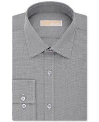 Michael Kors Classic Fit Non Iron Houndstooth Dress Shirt Black