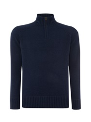 Howick Oakfield 100 Lambswool Funnel Neck Navy