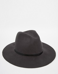 Catarzi Wide Brim Unstructured Fedora Hat Grey