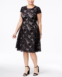 Alfani Plus Size Lace Fit And Flare Dress Only At Macy's Deep Black