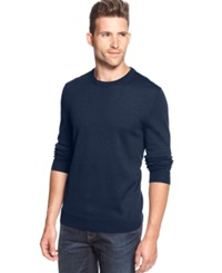 Club Room Big And Tall Solid Merino Blend Crew Neck Sweater Crew Blue Heather