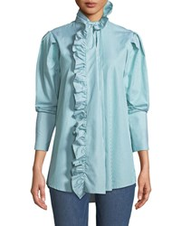 Maggie Marilyn Second Nature Striped Ruffle Button Down Shirt Green White