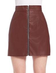 French Connection Front Zip Faux Leather Mini Skirt Coffee Bean