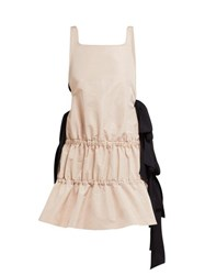 No. 21 Bow Embellished Tiered Twill Dress Light Pink