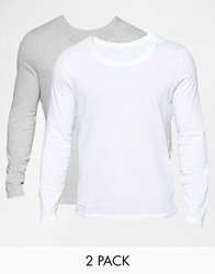 Asos Long Sleeve T Shirt With Scoop Neck 2 Pack Save 12.5 Greymarlwhite