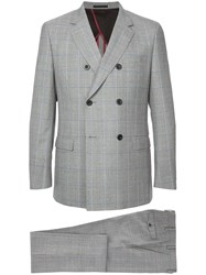 Loveless Double Breasted Grid Print Two Piece Suit Grey