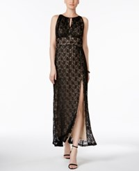 R And M Richards Lace Halter Gown Black Taupe