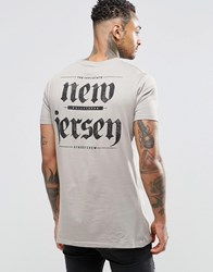 Asos Longline T Shirt With Gothic Text Back Print In Grey Elephant Skin