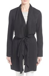Women's Vince Camuto Lightweight Twill Belted Cascading Front Jacket Black