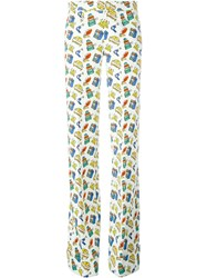 Au Jour Le Jour Travel Print Straight Trousers White